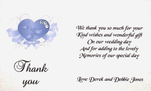Thank You Gift Cards Wedding Personalised Elegant  Heart Design various colours x 10